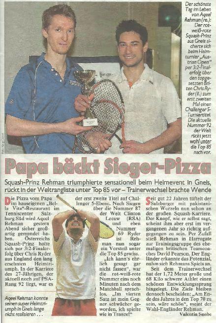 Aqeel Rehman Austrian Open 2013 Kronenzeitung